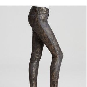 J brand Metallic bronze Snakeskin Jeggings